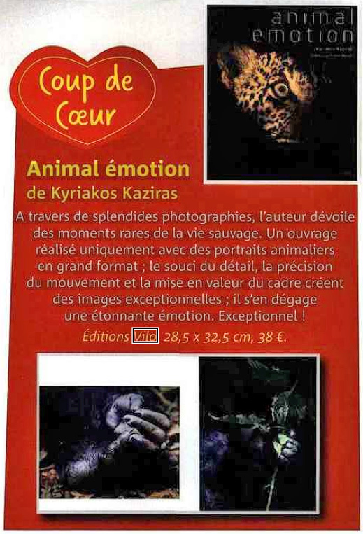 Coup de cœur du magazine Nat'Images pour Animal Emotion