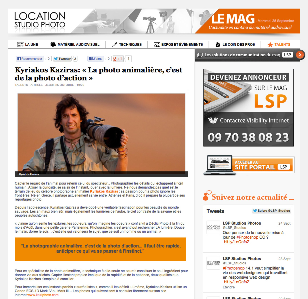 Article du Mag Location Studio Photo sur Kyriakos Kaziras